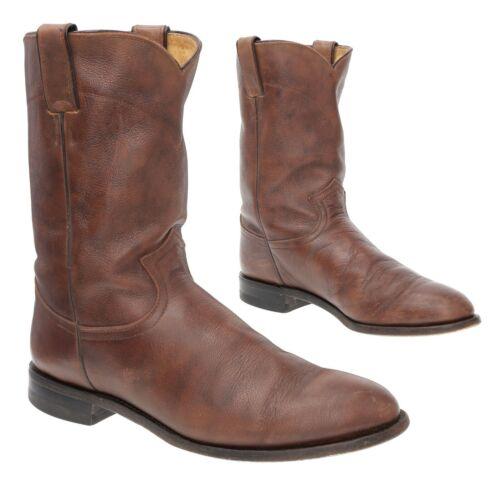 Vintage JUSTIN Cowboy Boots 8.5 D Mens WORN Goatsk