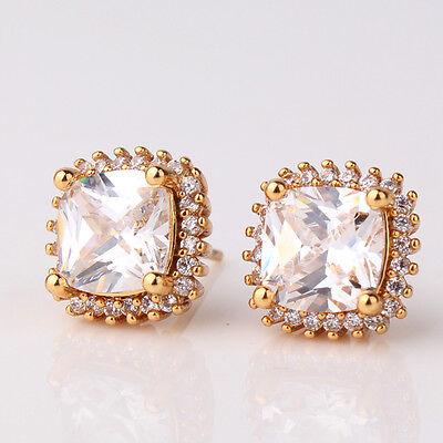 Hot sale 24k yellow gold filled white Swarovski crystal Promise stud earring