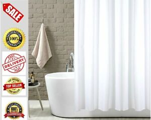 White Fabric Extra Long Shower Plain Curtain Bathroom Waterpoof With Hooks Ring.