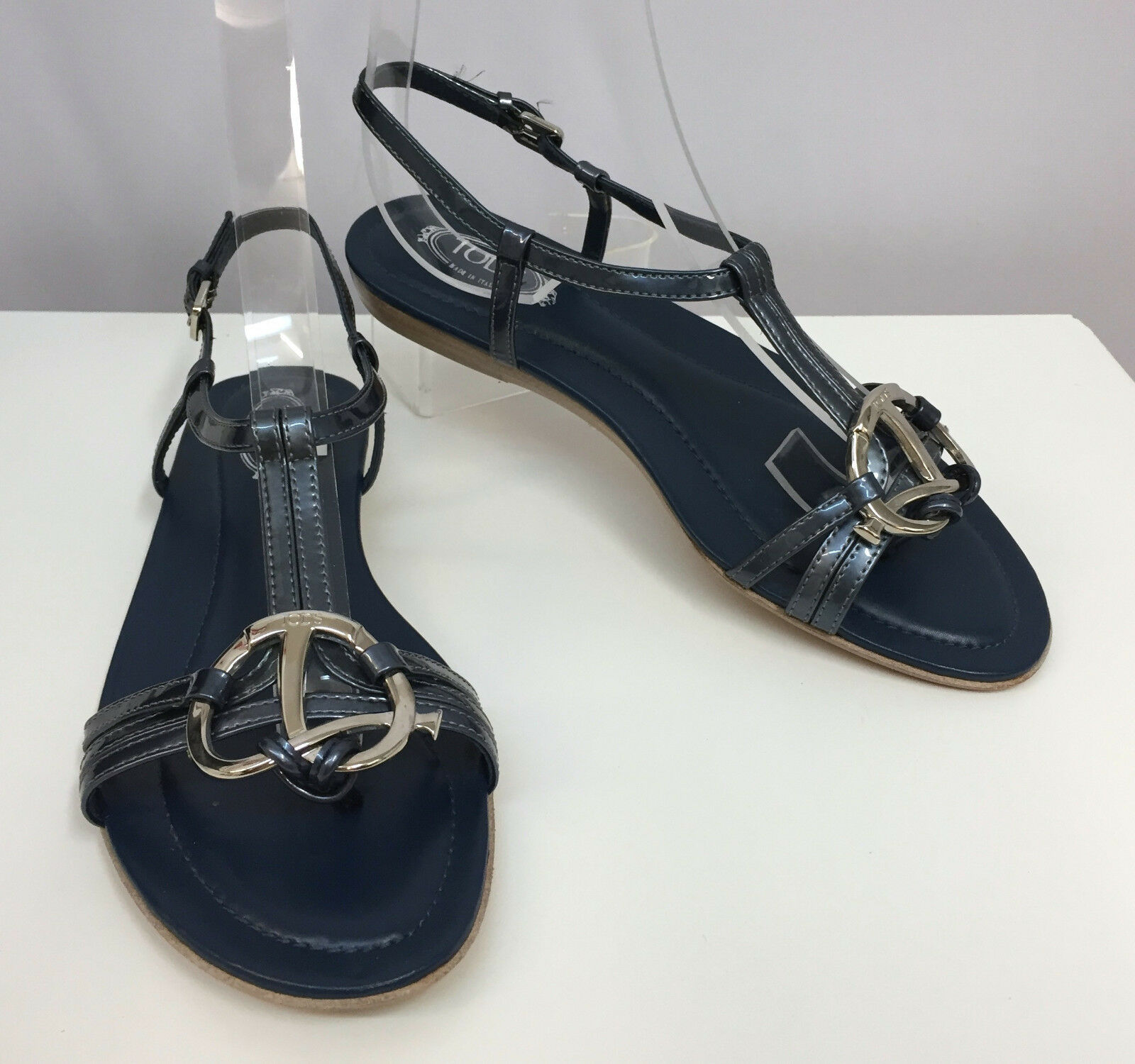 TOD'S SANDALS SHOES blueE PATENT LEATHER GREAT SILVER TONE METAL HARDWARE 36 1 2