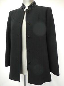 Gorgeous-vintage-Jean-Muir-jacket-sequin-mandarin-collar-black-wool-UK12-US10