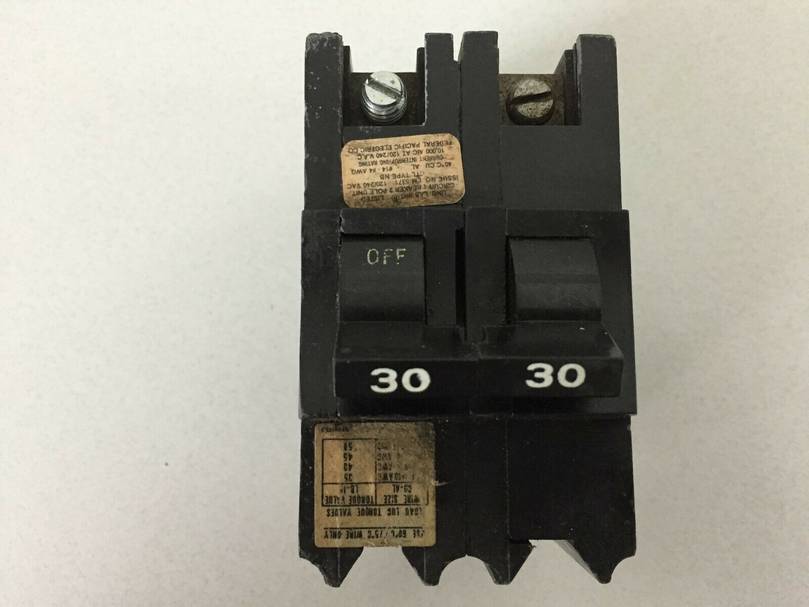 Federal Pacific FPE NB130 1 Pole 30 Amp 120V Breaker bolt on type  Ships TODAY