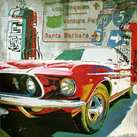 Foster   Ventura Freeway Mustang Tableau Prêt 70x70 Tableau Mural