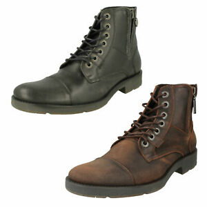 MENS HARLEY DAVIDSON MAINE LACE UP CASUAL BLACK BROWN ANKLE BIKER BOOTS SIZE