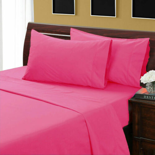 1200 Thread Count Egyptian Cotton All UK Sizes Bedding Items Hot Pink Solid