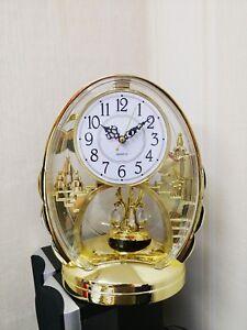 Gold Gilt Acrylic Castle Rhythm Pendulum Mantel Table Clock