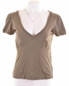 Diesel-Damen-Graphic-T-Shirt-Top-Groesse-10-Small-gruen-Baumwolle-gk16