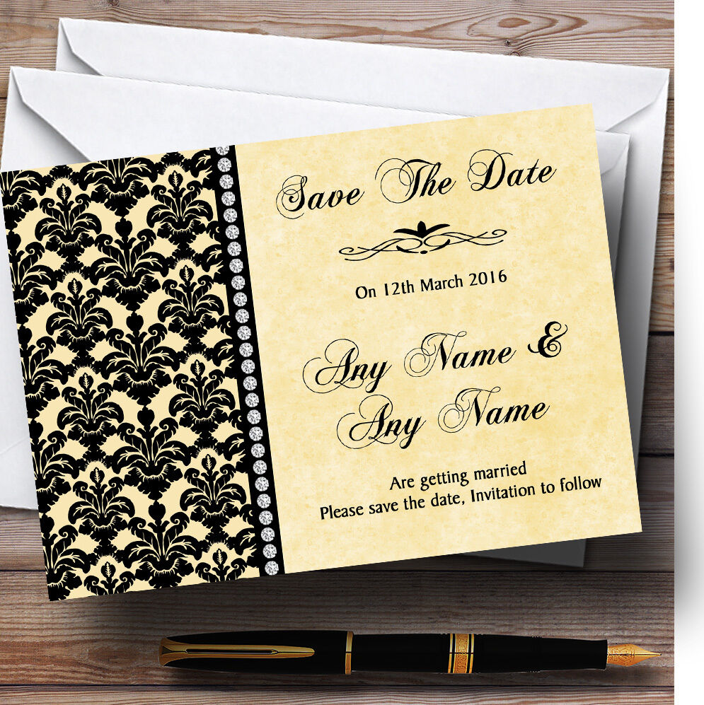 Noir Jaune Damask & diamond Mariage Personnalisé Mariage diamond save the date cards 1f6683