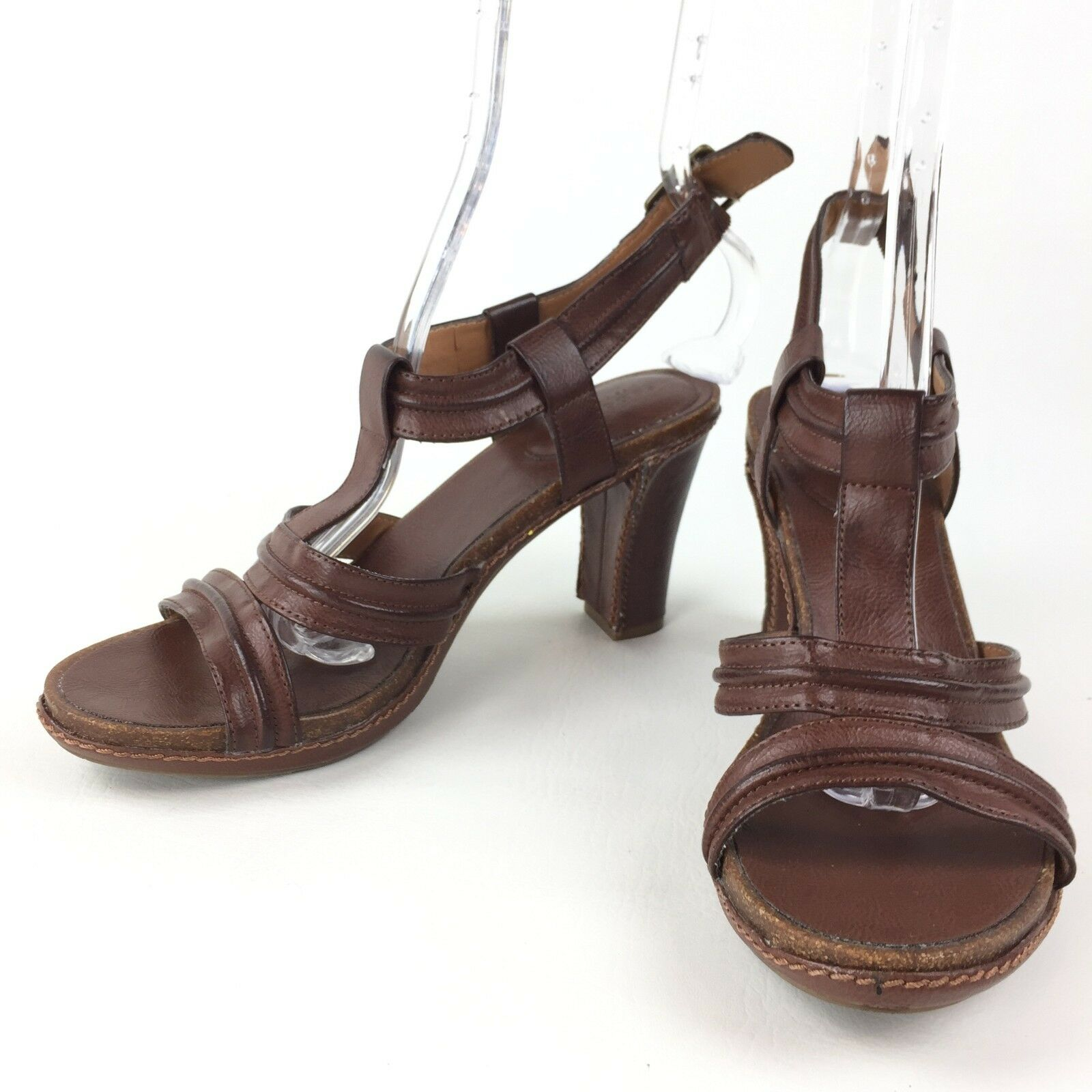 SONOMA Brown Life + Style Womens Brown SONOMA Sandals Heels Ankle Strap Buckle 9M 1f70e4