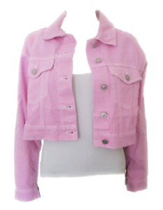 Details about WOMEN`S NEW BERSHKA CROPPED PINK DENIM JACKET SIZES UK 12-14 c0e0064bc