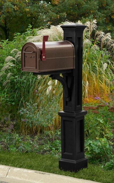 Black mailbox post with bronze mailbox