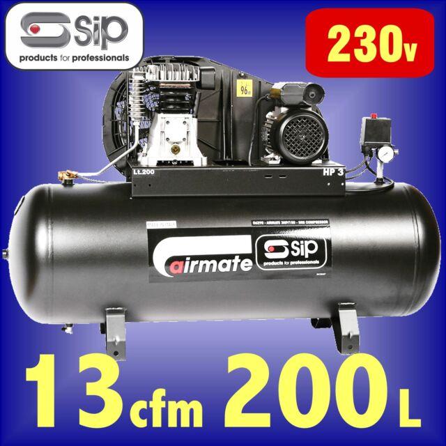 SIP 06294 AIRMATE 3HP-SRB 3hp 200 Litre Belt Driven AIR COMPRESSOR 200L