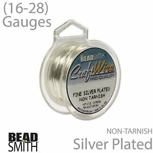 16, 18, 20, 22, 24, 26, 28 Gauges BeadSmith Silver Plated /& Tarnish Resistant Copper Craft Wires