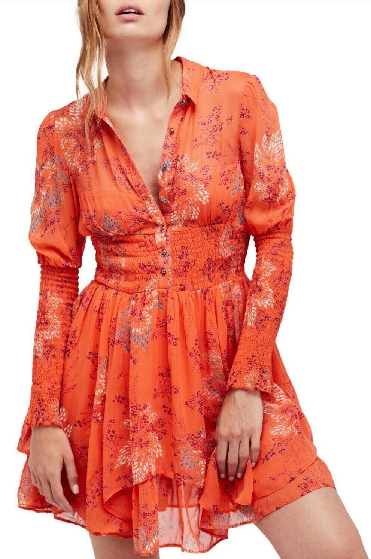 Free People orange fake pretend babydoll ruffled dress sz XS NWT   128