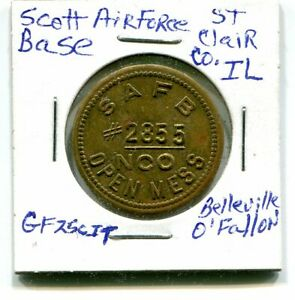 VINTAGE-SCOTT-AIR-FORCE-BASE-NCO-CLUB-MESS-25-CENT-TOKEN-BELLEVILLE-O-039-FALLON-IL