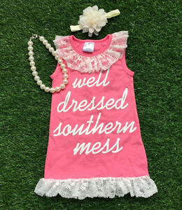 Girls well dressed southern mess lace pink sundress necklace bow