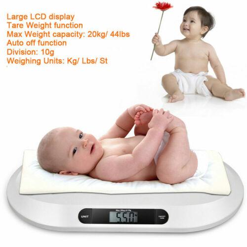 LED Babywaage Digital Baby Still Waage 20kg//10g Kinderwaage Batterien Weiß