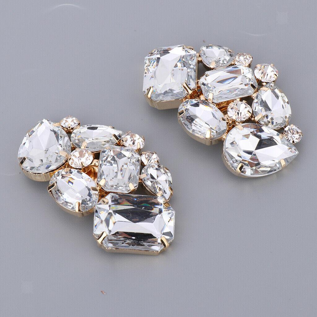 2x Crystal Rhinestone Shoes Clips Diamante Shoe Charms Buckle Decorative Shoe