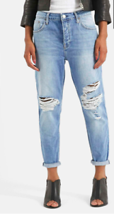 low priced new release low price TOPSHOP Moto Hayden Ripped Boyfriend Jeans 4 BUTTONS (SIZE ...