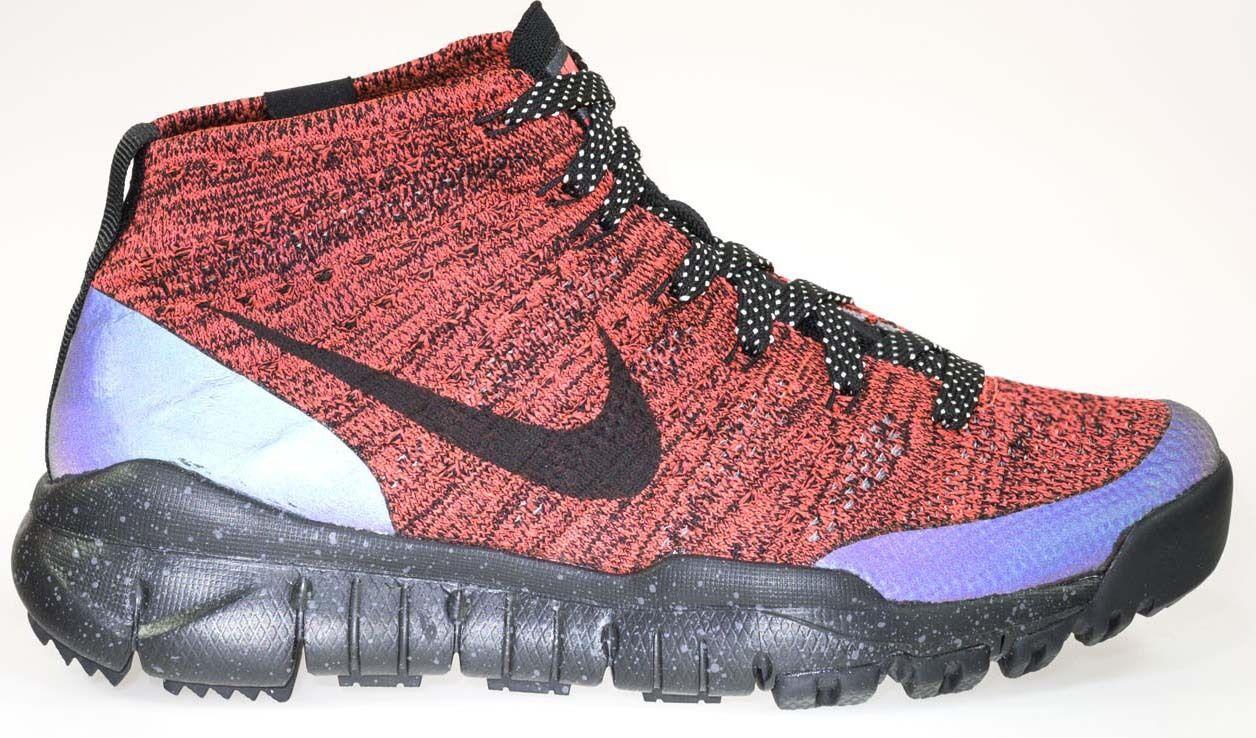 New Womens 8.5 NIKE Flyknit FSB Chukka Winter Red Black Shoes    805093-603