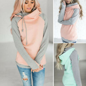New-Women-Long-Sleeve-Hoodie-Sweatshirt-Sweater-Hooded-Jumper-Coat-Pullover-Tops
