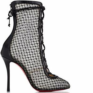 9a1209e20cf4 Image is loading Christian-Louboutin-HOTERO-Fishnet-Corset-Lace-Up-Bootie-