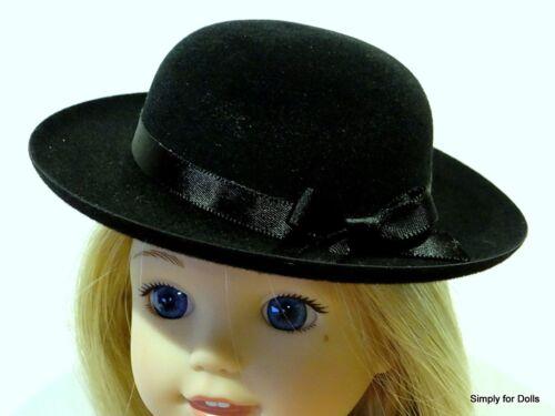 """BLACK Velvet /""""Flocked/"""" DOLL HAT fits American Girl 14.5/"""" WELLIE WISHERS DOLL"""