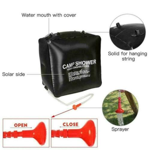 Portable 40L Solar Camping Shower Bag Outdoor Hiking Heated Bathing Water Bag US
