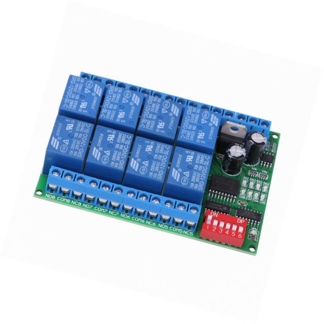 Relay Programmierbare Steuermodulplatine f/ür DC 12V 8-Kanal-RS485-Relais