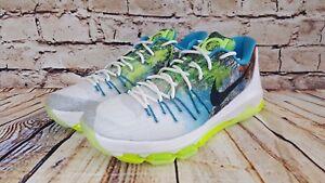 d9d95354df59 Nike KD 8 N7 Mens White Black Liquid Lime Basketball Shoes