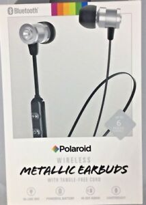 Wireless Bluetooth Earbuds Silver Tangle Free Cord Polaroid 680079757533 Ebay