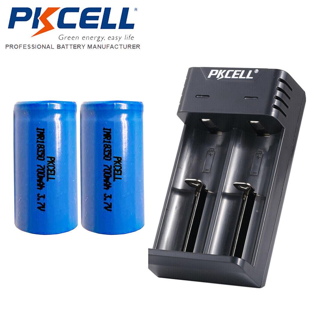 2Pcs 3.7V IMR 18350 700mAh Li-ion Rechargeable Battery Flat Top & Smart Charger