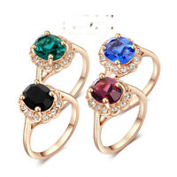 Austrian wedding/ Engagement Crystal Big Rings For Women 18K rose Gold Plated