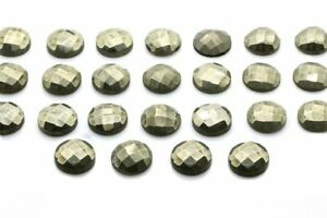 Natural-Pyrite-Gemstone-Round-Faceted-Cabochon-DIY-Jewelry-4mm-6mm-8mm-10mm-16mm