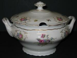 Vtg-EPIAG-SOUP-TUREEN-floral-with-gold-Czechoslovakia-Deutschland-Springer-amp-Co