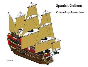 spanish galleon custom lego pirate imperial armada instructions only ebay. Black Bedroom Furniture Sets. Home Design Ideas