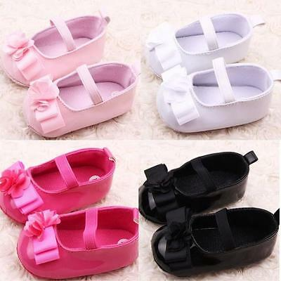 UK Infant Newborn Baby Girls Crib Pram Shoes Bow Soft Sole Sneakers Pre Walker