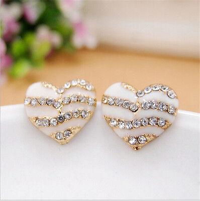 Fashion Womens Crystal Rhinestone Lovely Heart Ear Stud  Earrings Jewelry Gift