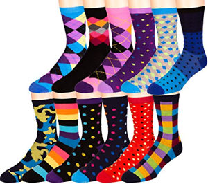 Zeke-Mens-Funky-Dress-Socks-12-Assorted-Colorful-Patterns-Size-10-13-Crew-Socks