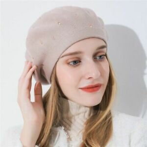 the cheapest release date: watch Details about Women's Cashmere Winter Hats with Rhinestone Designs Stylish  Knitted Beret Caps