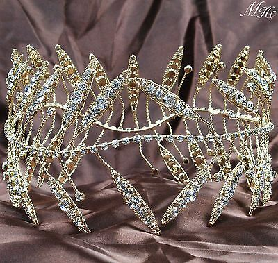 "Ancient Greek Wreath Crowns Gold Rhinestones 4"" Full Round Tiaras Pageant Party"