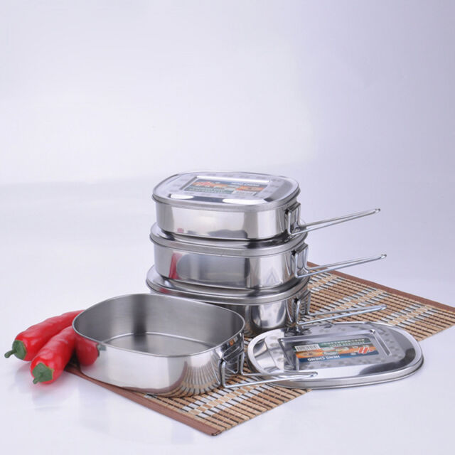 Large Stainless Steel Student Oval Case Bento Lunch Box Food Container