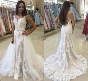 0eb69dcd0d 2019 Beach Mermaid Wedding Dress with Detachable Skirt Arabic Bridal ...