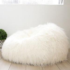 ... Chair Lounger White Luxury Faux  san francisco 6403c da29f Image is  loading SHAGGY-FUR-BEAN-BAG-Large ... 6ab7670c79a61