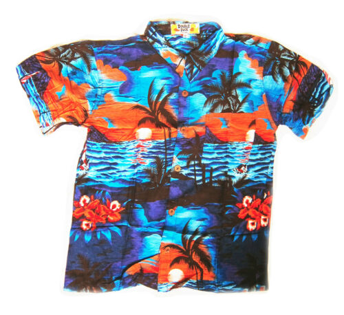 BOYS LOUD HAWAIIAN SHIRT BLUE WITH PALMAS //HIBISCUS FLOWERS summer holiday party