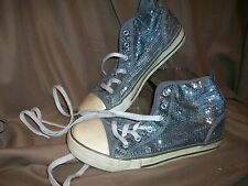 *USED* OLD NAVY FASHION HIGHTOP SNEAKERS SHOES SILVER SEQUINS GIRLS SIZE 4