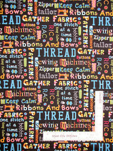 Sewing-Theme-Words-Black-Cotton-Fabric-Henry-Glass-One-Stitch-At-Time-By-Yard