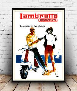 Lambretta Vintage motor Scooter Sports Vintage Art Poster A3 A4 Size