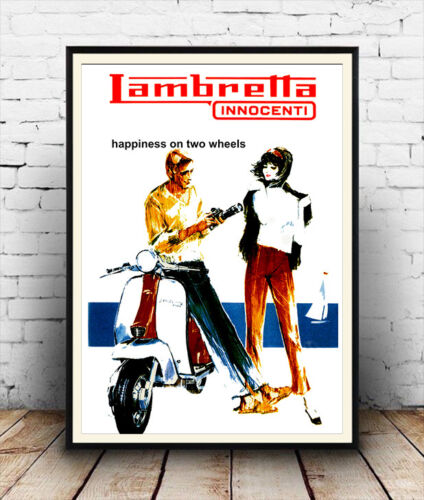 Lambretta Vintage motor Scooter poster reproduction