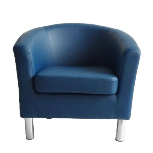 CAMDEN LEATHER TUB CHAIR ARMCHAIR DINING ROOM OFFICE RECEPTION - ROYAL BLUE